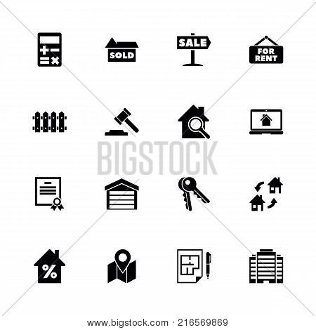 Real Estate icons - Expand to any size - Change to any colour. Flat Vector Icons - Black Illustration on White Background.