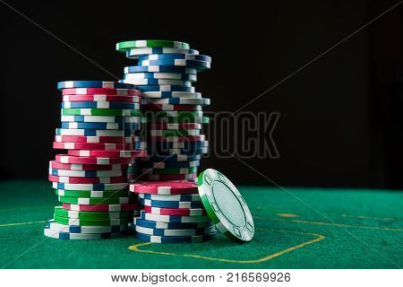 Casino Poker Table With Chips And Cards