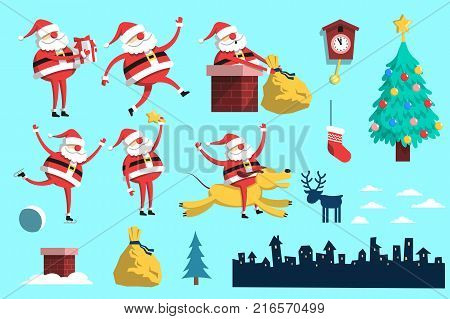 Santa Claus in various poses - runs holds a gift climbs into the chimney skates rides a dog. And also set of Christmas design elements. Flat style.