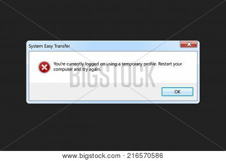 System Easy Transfer fatal error warning information message template. Modern window computer information user interface sign crash Report Background. Vector Illustration