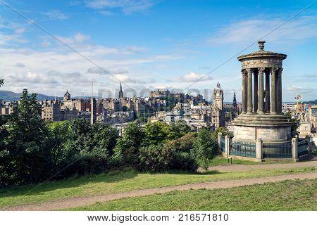 Dugald Stewart Monument On Calton Hill With A View On Edinburgh Scotland