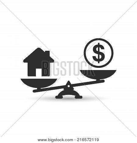 Dollar and house scales icon. Money and house balance on scale. Real estate sale. Weights with house and money coin. Vector isolated sign.