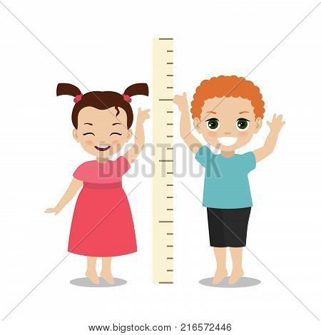 Kids measures the growth. Girl and boy are measuring height.
