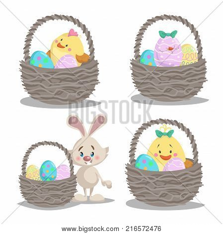 Spring easter symbols and seasonal vector illustrations set. Baskets with cute chick boy and girl easter bunny and painted eggs.