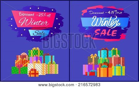 Discount -25 , -45 winter sale poster with advertisement label with snowballs, pile of presents in decorative wrapping paper isolated on blue vector