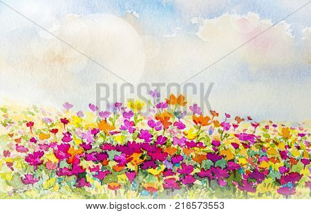 Painting watercolor flowers original pink red, yellow, orange colors of daisy flowers in the spring season sky with bokeh light on background. Hand painted Impressionist abstract illustration.