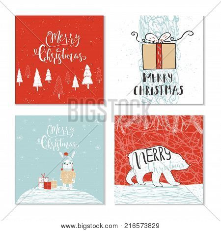 Set of 4 cute Christmas gift cards with animals and lettering quote Merry Christmas warm wishes magic moments. Hand drawn illustration for postcard design poster t-shirt banner holliday invitation scrapbook. Perfect vector.