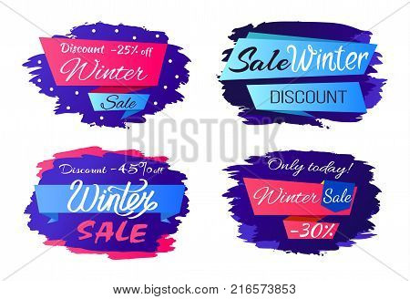Sale winter discounts special offer promo labels with price reduction on 25, 30, 45 percents set of vectors with brush strokes isolated on white