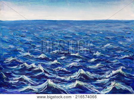 Big waves painting. Abstract sea blue turquoise wave vibrations. Marine waves background illustration.