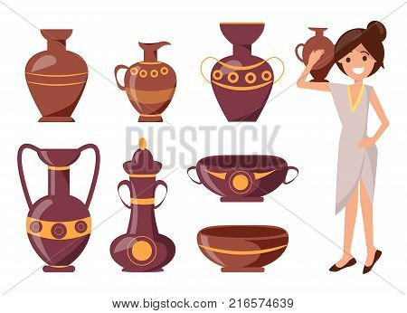 Woman posing with clay vase vector illustration isolated on white. Ornamental pot of different shapes on exhibition with decor