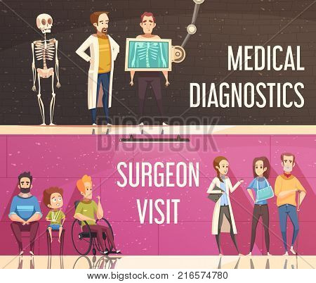Cartoon horizontal banners set with people consulting orthopedist and surgeon isolated vector illustration