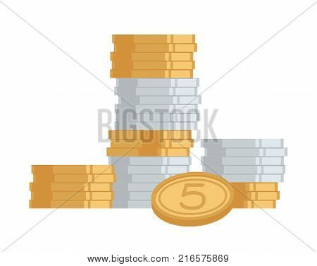Stack of huge golden and silver coins with digit 5 on one of them. Vector illustration of icon of money isolated on white background