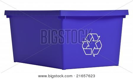 Blue Recycling Bin Isolated On White