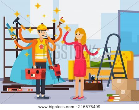 Superhero repairman with working tools in blue cloak in room after relocation orthogonal composition flat vector illustration