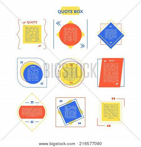 Quote box sample with different colorful geometric shapes and supposed quotation in it on vector illustration isolated on white background