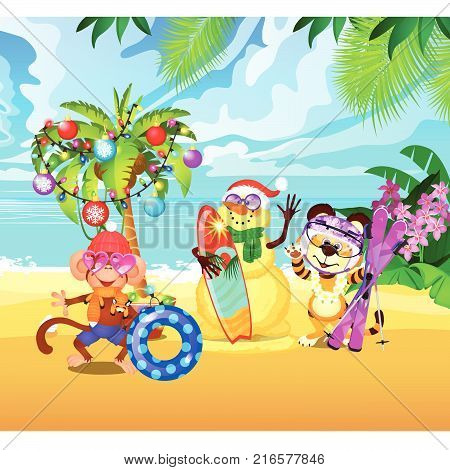New Year on the beach. Decorated palm tree, exotic animal with Christmas gift. Sample of poster, party holiday invitation, festive banner, card. Idea of stock sale tours. Vector cartoon close-up.