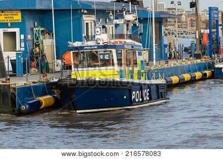 LONDON, UK - October 17th, 2017: Thames river reserve patrol police boat for emergency
