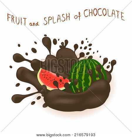 Vector icon illustration logo for ripe berry red watermelon splash of drop brown chocolate. Watermelon pattern consisting of splashes drip flow liquid Chocolate. Eat fruits watermelons in chocolates.