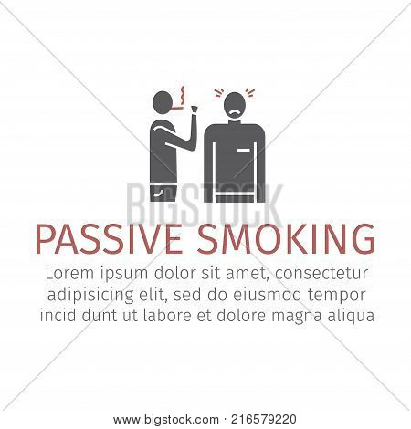 Passive smoking icon. Vector flat cartoon illustration