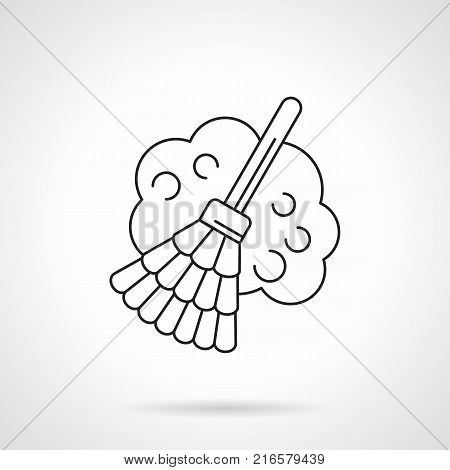 Symbol of broom and cloud of dust. Sweeping and other household chores. Flat black line vector icon.
