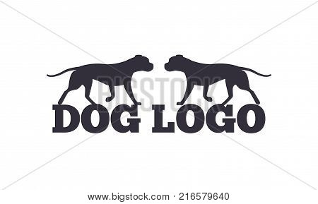 Dog logo design with two canine animals black silhouettes isolated on white background. Canine domestic dogs pedigree purebred vector illustrations