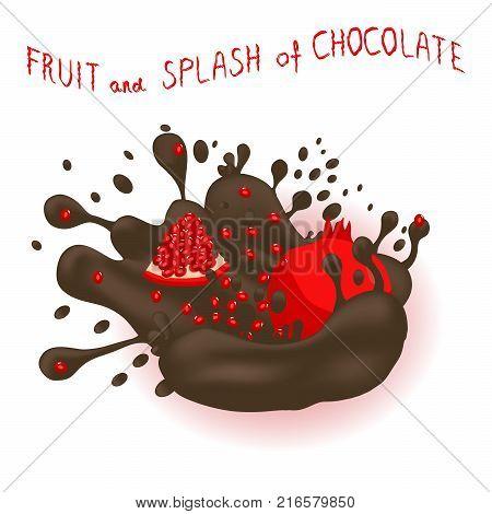 Vector icon illustration logo for ripe fruit red garnet splash of drop brown chocolate. Garnet pattern consisting of splashes drip flow liquid Chocolate. Eat sweet fruits garnets in chocolates.