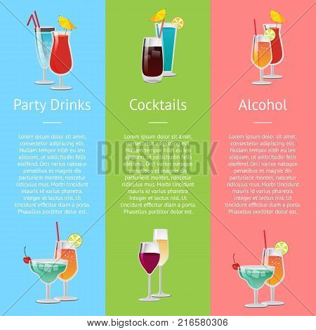 Cocktails, party drinks and alcohol representation on colorful poster with alcoholic beverages in glasses. Vector illustration with decorated cocktails