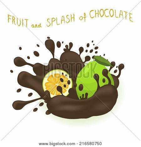 Abstract vector illustration logo for ripe citrus fruit green pomelo splash of drop chocolate. Pomelo pattern consisting of splashes drip flow liquid Chocolate. Eat sweet fruits pomelos in chocolates