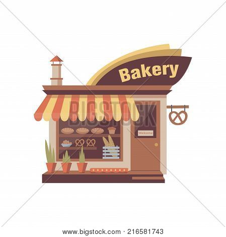 Bakery store building facade with signboard and showcase with bakery products. Bread shop icon. Urban architecture, city commercial property exterior. Flat style cartoon vector isolated on white