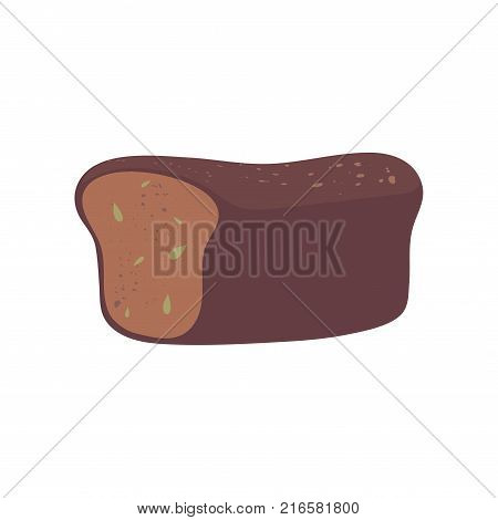 Fresh whole grain bread flat design element. Loaf of rye or brown brick-bread with seeds and spices. Cartoon style food illustration. Bakery products and baked goods. Vector object isolated on white.