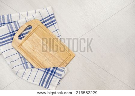 Kitchen blue color kitchen cloth border isolated.Food decoration.Textile domestic kitchen symbol.