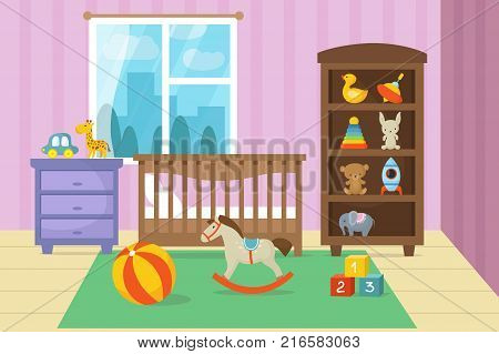 Cartoon childrens room interior with kid toys vector illustration. Bedroom child, playroom cartoon with bed and toys
