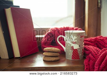 Cozy winter still life: mug of hot tea and opened book on vintage windowsill against snow landscape from outside