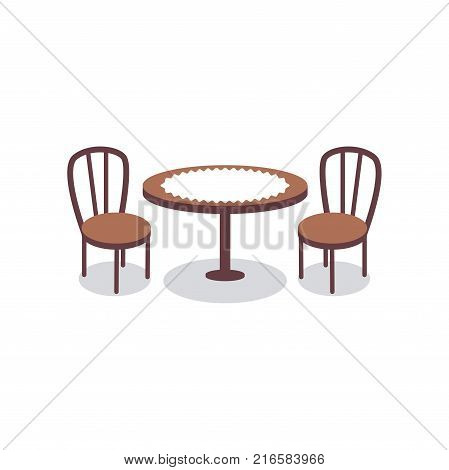 Cartoon table covered with white cloth for two people and wooden chairs icons. Furniture for dining room, cafe, bakery shop, restaurant interior scene design. Vector illustration isolated on white.