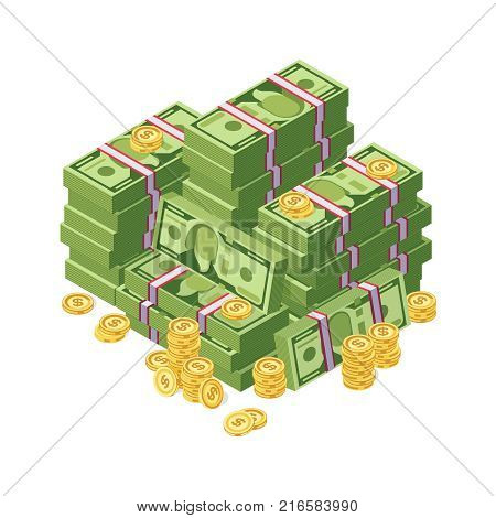 Huge pile of dollar cash money and golden coins vector illustration. Finance cash stack money banknote and golden coins