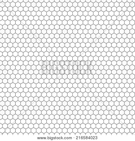 Hexagon seamless vector texture. Hexagonal grid repeat pattern. Geometric seamless pattern monochrome structure, graphic hexagon repeat background illustration