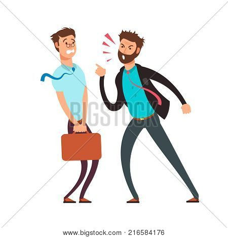 Big angry boss screaming out on employee. Cartoon business vector concept. Illustration of angry boss and employee worker