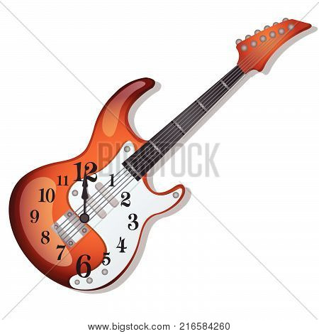 Wall clock with a design of an electric guitar isolated on white background. Sketch of festive poster, party invitation, other holiday card. Vector cartoon close-up illustration.