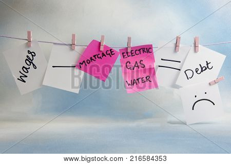 Household outgoings equation including bills and wages on a line