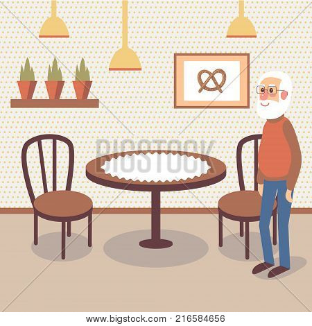 Flat bakery shop interior with table, wooden chair and picture of pretzel and potted green plants on the wall. Smiling old gray-bearded man standing inside of pastry store. Cartoon vector illustration
