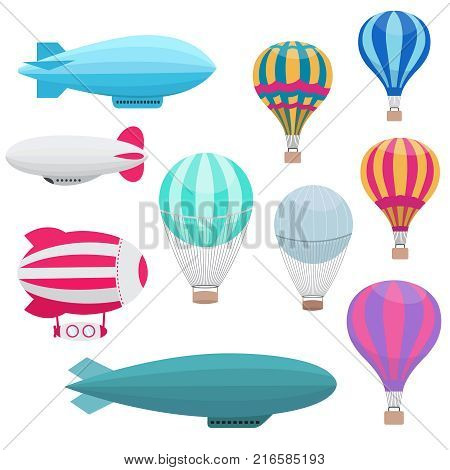Cartoon hot air balloons vector set. Colored air balloon with basket for travel and transportation flight