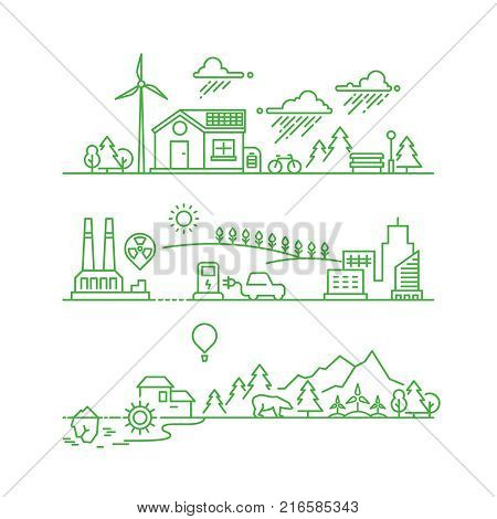 Outline eco city. Future ecological green environment and ecosystem vector concept. Environment ecosystem tree and sun, energy solar illustration