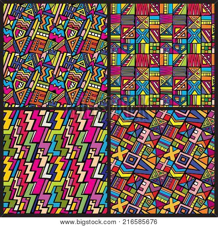 Multicolor tribal african seamless vector patterns set. Hippie clothes backgrounds in 80s style. African background ethnic, hippie traditional motif culture illustration