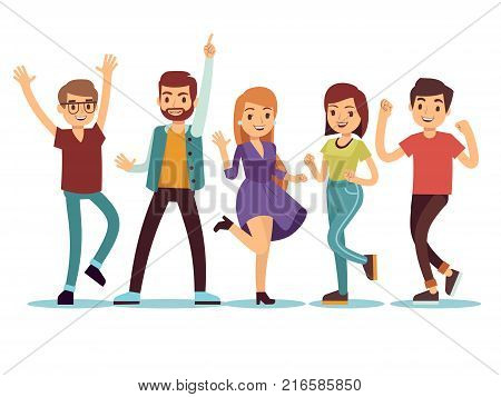 Happy smilling dancing young persons at christmas party. Cartoon vector people set. Young group people in dance party illustration