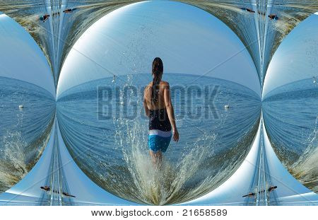 Girl in a droplet