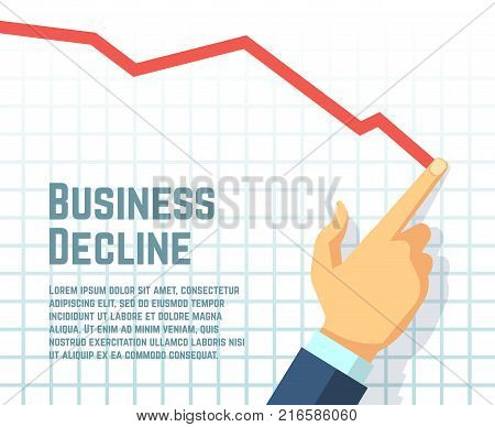 Businessmans hand drawing decrease graph. Profit decline and downward sales business vector concept. Business graph and chart, finance decrease diagram, financial bankruptcy illustration