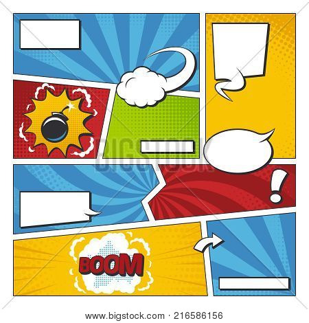 Comic book vector frame set with speech bubbles. Comics page template. Book halftone with speech comic bubble illustration
