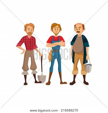 Farmers with different agricultural tools, agriculture farming concept cartoon vector Illustration on a white background