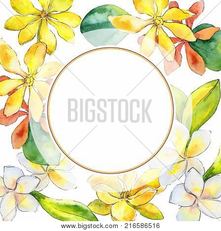 Wildflower gardenia flower frame in a watercolor style. Full name of the plant: gardenia. Aquarelle wild flower for background, texture, wrapper pattern, frame or border.