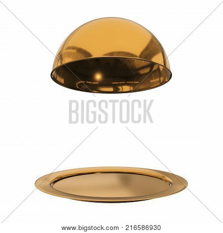 Restaurant gold cloche on plate close. 3d render isolated on white